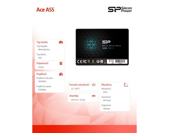 Silicon Power Dysk SSD Ace A55 512GB 3D TLC 2, 5 SATA3 560/530MB/s 7mm