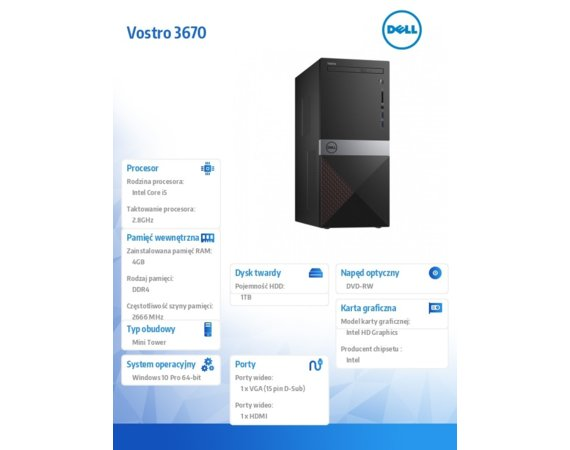 Dell Komputer Vostro 3670MT Win10PRO i5-8400/1TB/4GB/DVDRW/Intel UHD 630/KB216/MS116/3Y NBD