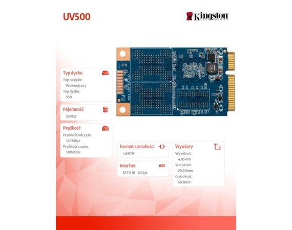 Kingston UV500 240GB mSATA 520/500 MB/s