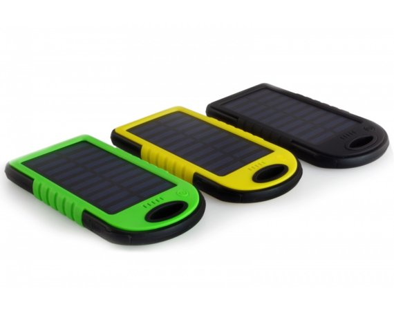 SUNEN PowerNeed - Powerbank 5000mAh z panelem solarnym 1.2W, USB 5V, 1A, Li-Poly, LED, czarny