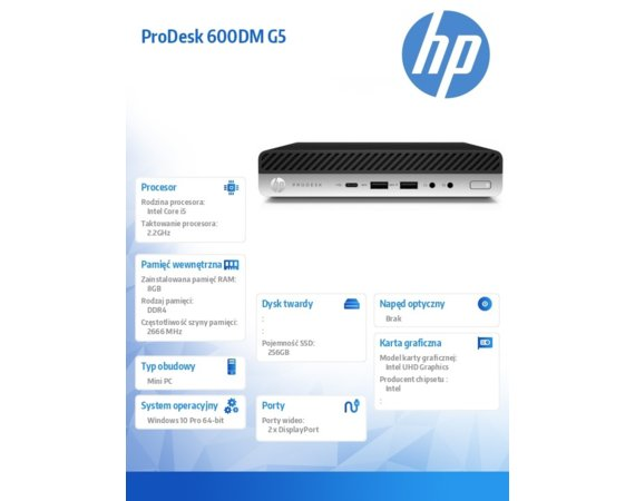 HP Inc. Komputer ProDesk Mini 600DM G5 i5-9500T 256/8GB/W10P     7PF22EA