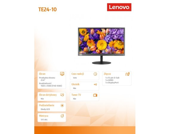 Lenovo Monitor 23.8 ThinkVision TE24-10 Wide FHD In Plane Switching LCD 61B7MAT6EU