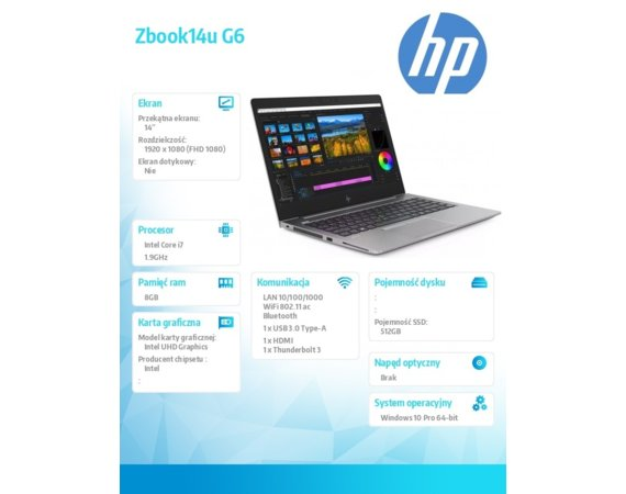 HP Inc. Notebook Zbook14u G6 i7-8665U 512/16/W10P/14 8JL80EA