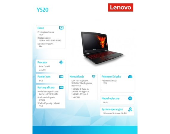 Lenovo Notebook Legion Y520-15IKBN  80WK013LPB W10Home i5-7300HQ/8GB/1TB/GTX1050M Ti 4GB/15.6 FHD/Black/2YRS CI