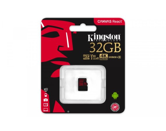 Kingston microSD  32GB Canvas React 100/70MB/s U3 UHS-I V30 A1