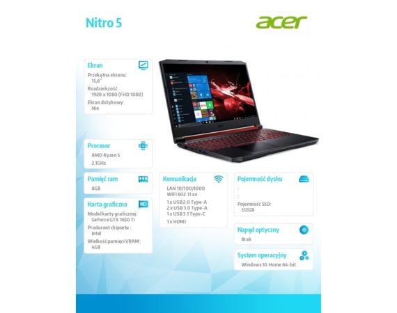 Acer Notebook Nitro 5 AN515-44-R9MG WIN10Home 4600U/8GB/512GB/GTX1650Ti 4GB/15.6 FHD