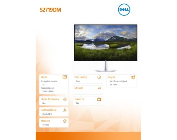 Dell Monitor S2719DM 27 InfinityEdge HDR QHD (2560 x 1440)/16:9/2xHDMI/3Y PPG