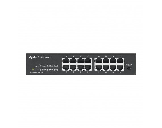 Zyxel GS1100-16 switch L2 16x1GbE rack fanless