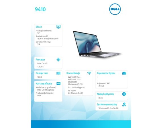 "Dell Notebook Latitude 9410 2in1 Win10Pro i7-10610U/512GB/16GB/UHD620/14.0""FHD Touch/KB-Backlit/4 cell/3Y PS"