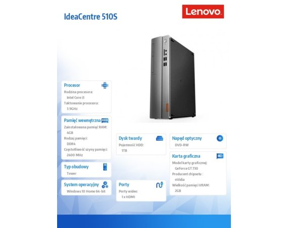 Lenovo IdeaCentre 510s-08IKL 90GB0088PB W10Home i3-7100/4GB/1TB/GT730/2YRS CI