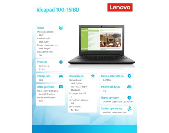 "Lenovo IdeaPad 100-15IBD 80QQ006TPB W10 i5-5200U/4GB/1TB/INTEGRATED/15.6"" 2YRS CI"