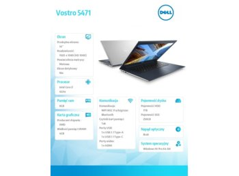 "Dell Vostro 5471 Win10Pro i7-8550U/128GB/1TB/8GB/AMD Radeon 530/14""FHD/KB-Backlit/3-cell/Silver/3Y NBD"