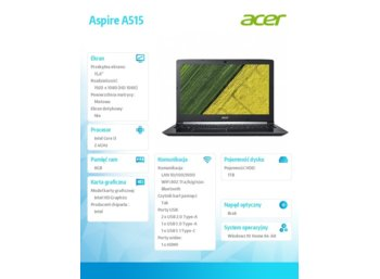 Acer Aspire A515-51-3509 WIN10 i3-71200U/8GB/1T/15.6 REPACK