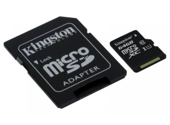 Kingston microSD  64GB Canvas Select 80/10MB/s adapter