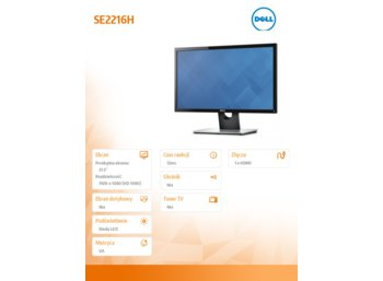Dell SE2216H 21.5'' IPS LED Full HD (1920 x 1080) /16:9/HDMI/VGA/3Y PPG