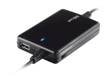 Trust 70W Thin Laptop & Phone Charger for car use - black