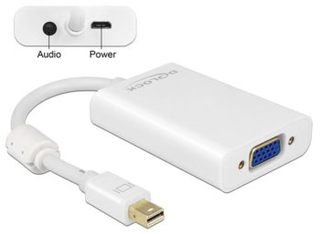 Delock Adapter Displayport MINI 1.1(M)-> VGA(F) White