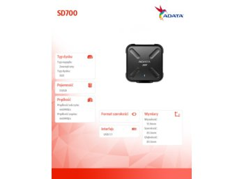 Adata SSD External SD700 512G USB3.1 Durable Black