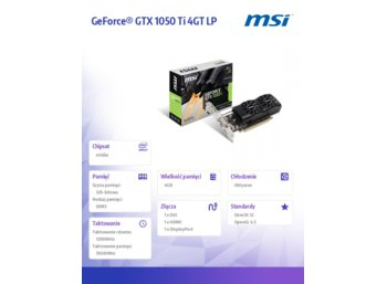 MSI GeForce GTX 1050 TI 4GB DDR5 128BIT DVI/HDMI/HDCP