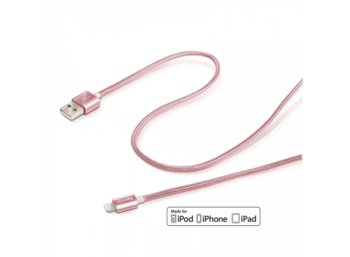 CELLY USB LIGHTNING TEXTILE RG MFI 1M RÓŻOWE ZŁOTO
