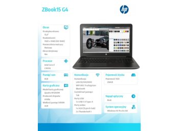 HP Inc. ZBook15 G4 i7-7700HQ 256/8G/15,6/W10P Y6K19EA