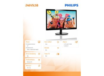 Philips 24'' 246V5LSB LED DVI Czarny
